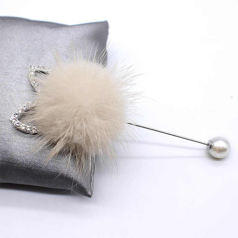 แฟชั่นผู้หญิงเสื้อ Corsage ยาวเข็มเข็มกลัดน่ารัก Mink ผมลูกกระต่ายหู Boutonniere เครื่องประดับสุภาพสตรีอุปกรณ์เสริม
