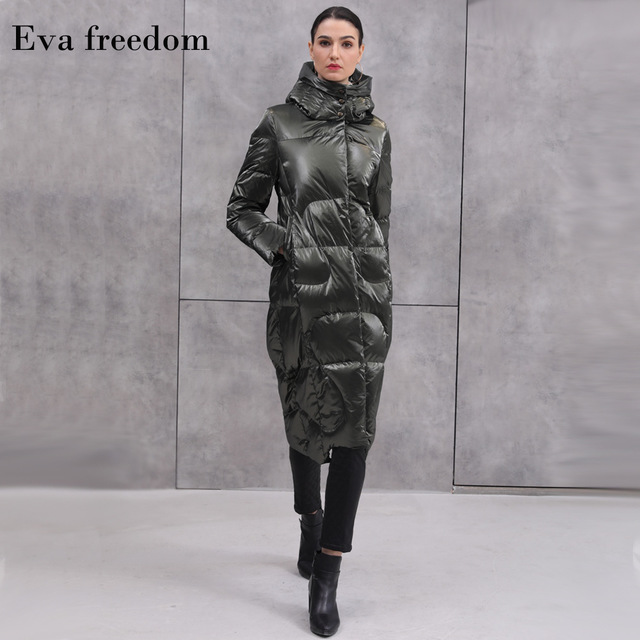 Winter fashion over the knee 90% white duck   down   hooded   coat   female oversize long thicker warm   down   parkas F297