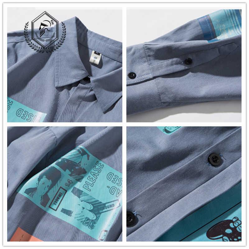 الرجال موضة فضفاضة طباعة عادية المرقعة الهيب هوب قميص