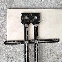 Multi ângulo de medição régua protratores régua ajustável piso telha buraco localizador vidro madeira perfurador universal