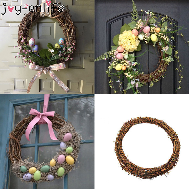 JOY-ENLIFE 10-30cm Xmas Home Decor Natural Rattan Wreath Easter Party Wreath Crafts Egg Decoration Spring Wedding Wreath