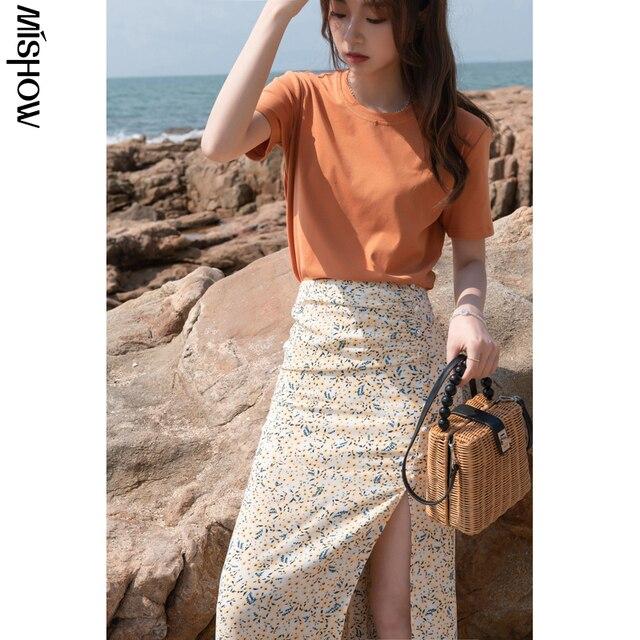 MISHOW Summer New Skirts For Women Causal Printed High Waist Aline Hem Slit Women's Skirt Fahsion Beach Skirt MXA23B0013 2