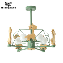 Animal Deer Chandelier Lighting Modern Led Ceiling Chandeliers Wooden Iron Living Room Hanging Lamps Home Decor Light Fixtures modern led dimmable with remote square design chandelier lighting led ceiling chandeliers for living room home light fixtures