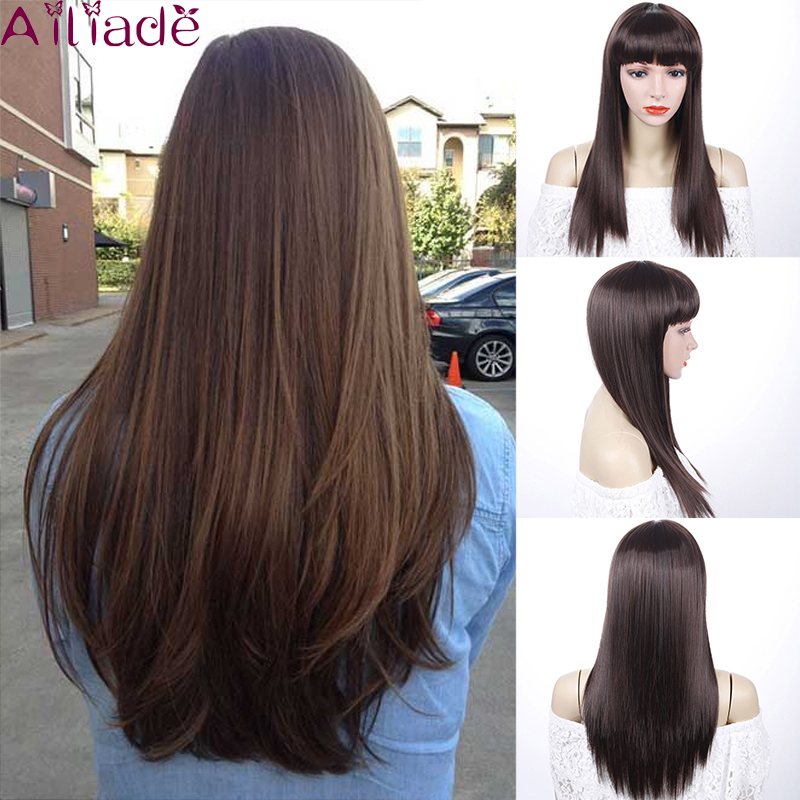 AILIADE Silky Straight Long Ombre Dark Brown Synthetic Wigs For Women Natural Hair Neat Bangs Wigs Heat Resistant Fiber Wigs