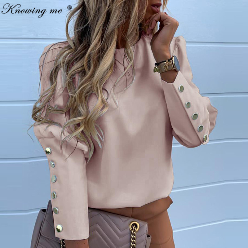 women Autumn Puff shoulder blouse shirts Office Lady Metal Buttoned Detail Blouses Elegant Pineapple print long sleeve tops 3XL