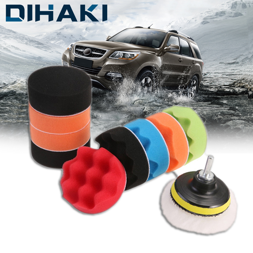 11Pcs Auto Polishing Sponge Pads Kit 3 Inch Wool Wheels Waxing Buffing Pads For M14 Car Polisher Electric Drill Car Styling