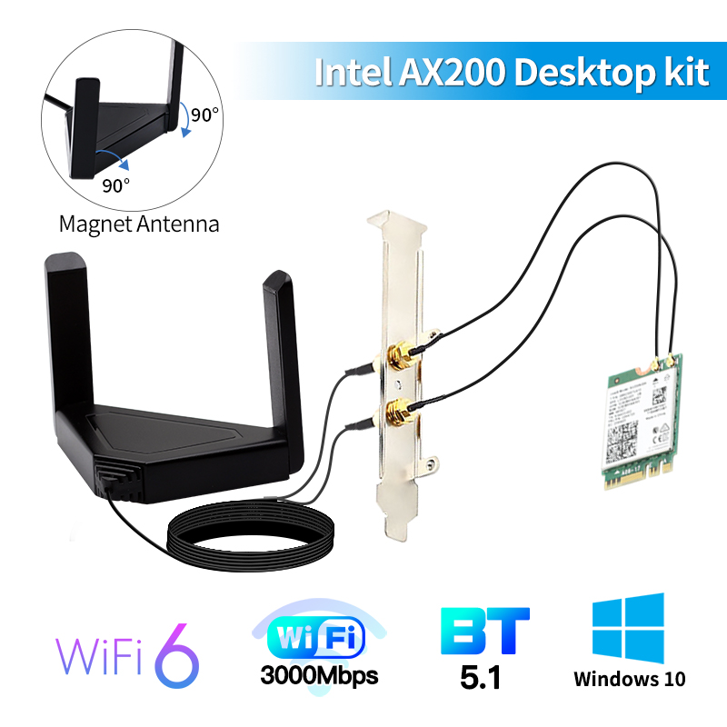 Wireless Dual band 3000Mbps 802 11ax ac Wi-Fi 6 Desktop Kit Intel AX200 Bluetooth5 0 Wifi Card 2 4G 5Ghz AX200NGW Adapter