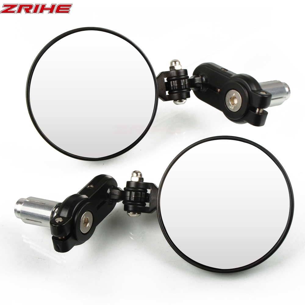 2Pcs Universal Motorcycle Mirror Aluminum 22mm Handle Bar End Rearview Side Mirrors Motor Accessories For <font><b>Benelli</b></font> <font><b>BJ500GS</b></font> ABS image