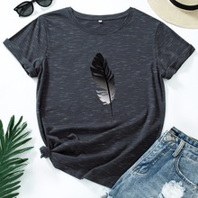 JCGO Women T Shirt Cotton Plus Size 5XL Casual Summer Feather Print Short Sleeve Loose Fashion Female Graphic Tee Shirts Tops