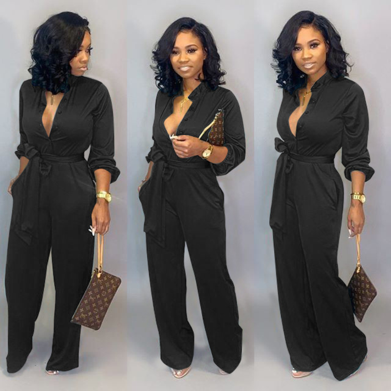 Autumn and Winter Fashion Stand Collar Long-sleeved Solid Color Casual Jumpsuit Workwear Overalls for Women Bodysuit