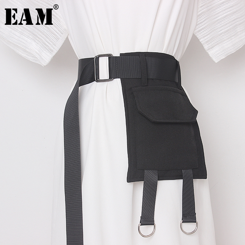 [EAM]  Black Pocket Metal Buckle Split Joint Long Wide Belt Personality Women New Fashion Tide All-match Spring 2021 1Y05701