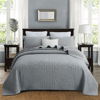 Grey Beige 100% Cotton Bedding Set Solid Quilted bedspread Coverlet Flower Quilted Bed Cover Set With Pillowcase Super King Size