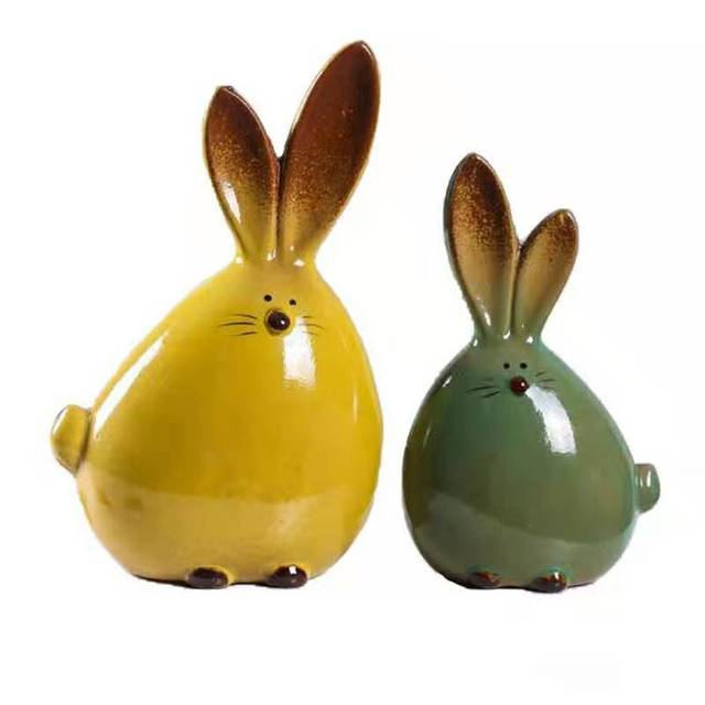 2PC Combination Nordic Style Cute Long Ear Rabbit Ceramic Decoration Cartoon Animals Figurines Ornaments Unique Home Decoration 5