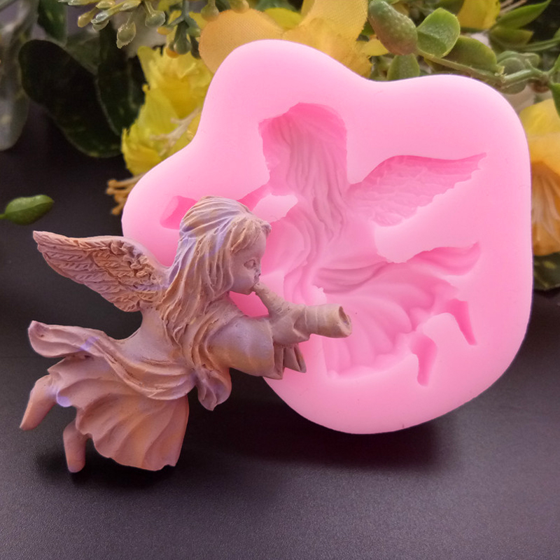 3D Angel Girl Horn Shape Cake Molds Fondant Chocolate Silicone Mold Pastry Biscuits Candy Soap Moulds Decoration Baking Tools