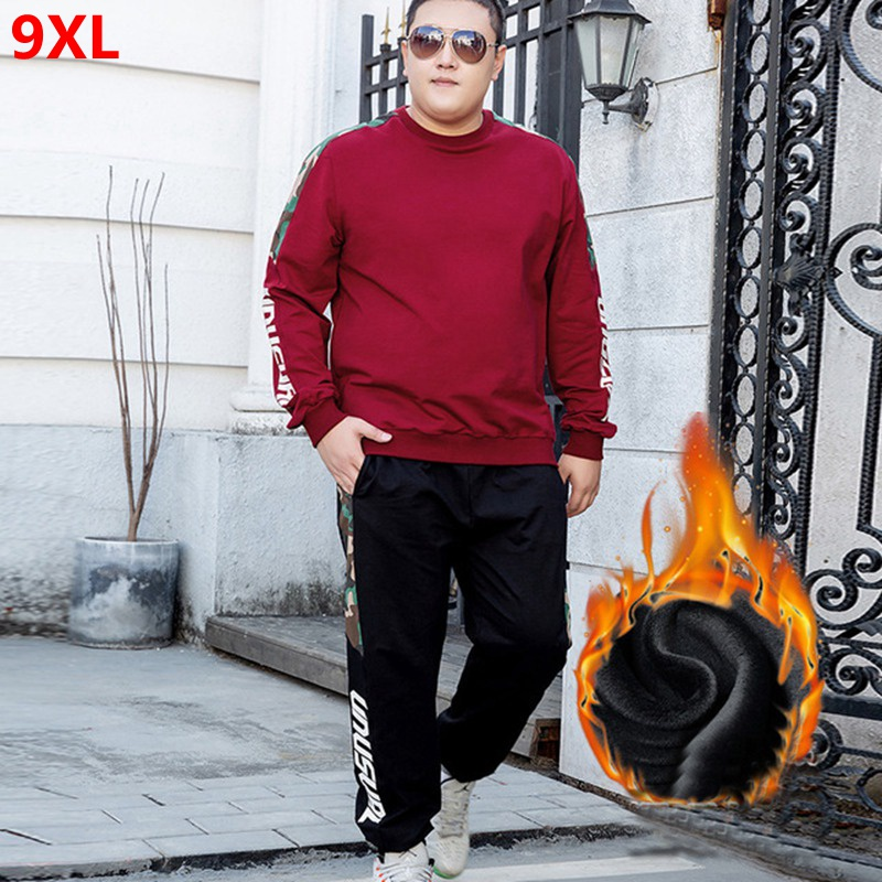 Autumn And Winter Fleece Sweater Suit Men Plus Velvet Thick Large Size Plush Sweater Suit Sports Running Clothes Plus Size 9XL 8