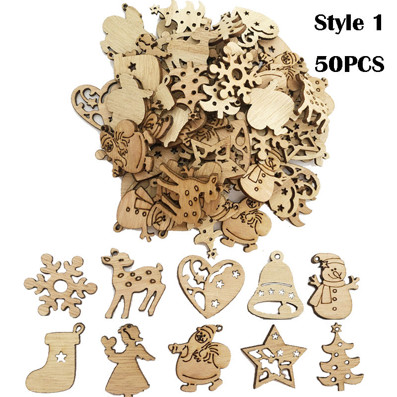 Image 4 - 50/100PCS New Year Natural Wood Christmas Decoration For Home Wooden Christmas Tree Ornament Hanging Pendants Gifts Elk Decora-in Pendant & Drop Ornaments from Home & Garden