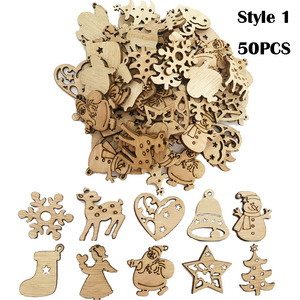 Image 4 - 50/100PCS New Year Natural Wood Christmas Decoration For Home Wooden Christmas Tree Ornament Hanging Pendants Gifts Elk Decora