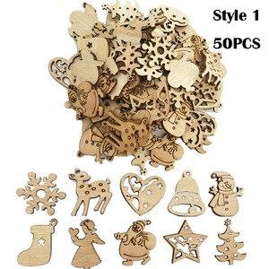 Image 4 - Decoración navideña de madera Natural para el hogar, adorno para árbol de Navidad colgantes para colgar regalos, alce, decoración, Año Nuevo, 50/100 Uds.