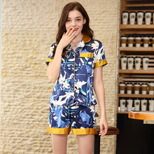 2019 Silks pajamas ladies summer new product short-sleeved shorts homewear two pieces sleepwear S100