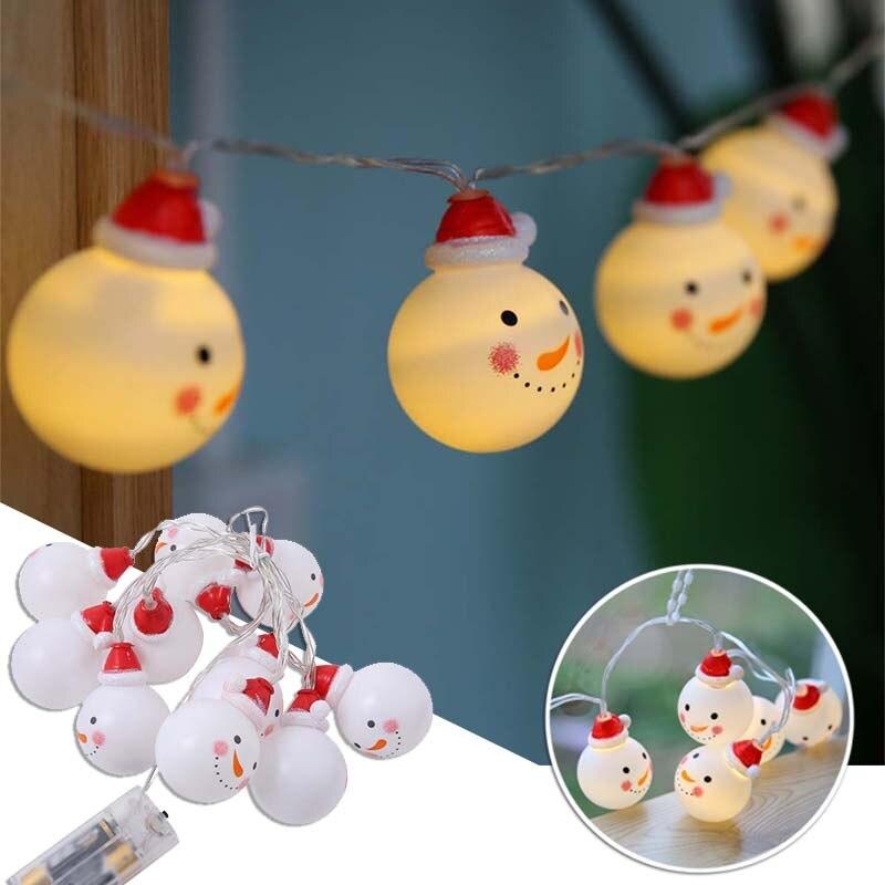 Noël 10 LED chaîne lumière bonhomme de neige fée lumières d'intérieur fête décoration de la maison lampe