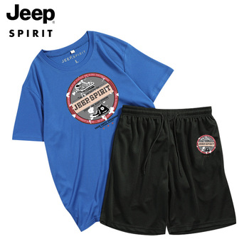 цена на JEEP SPIRIT men's summer short-sleeved T-shirt   casual shorts running sports fashion cotton breathable two-piece suit