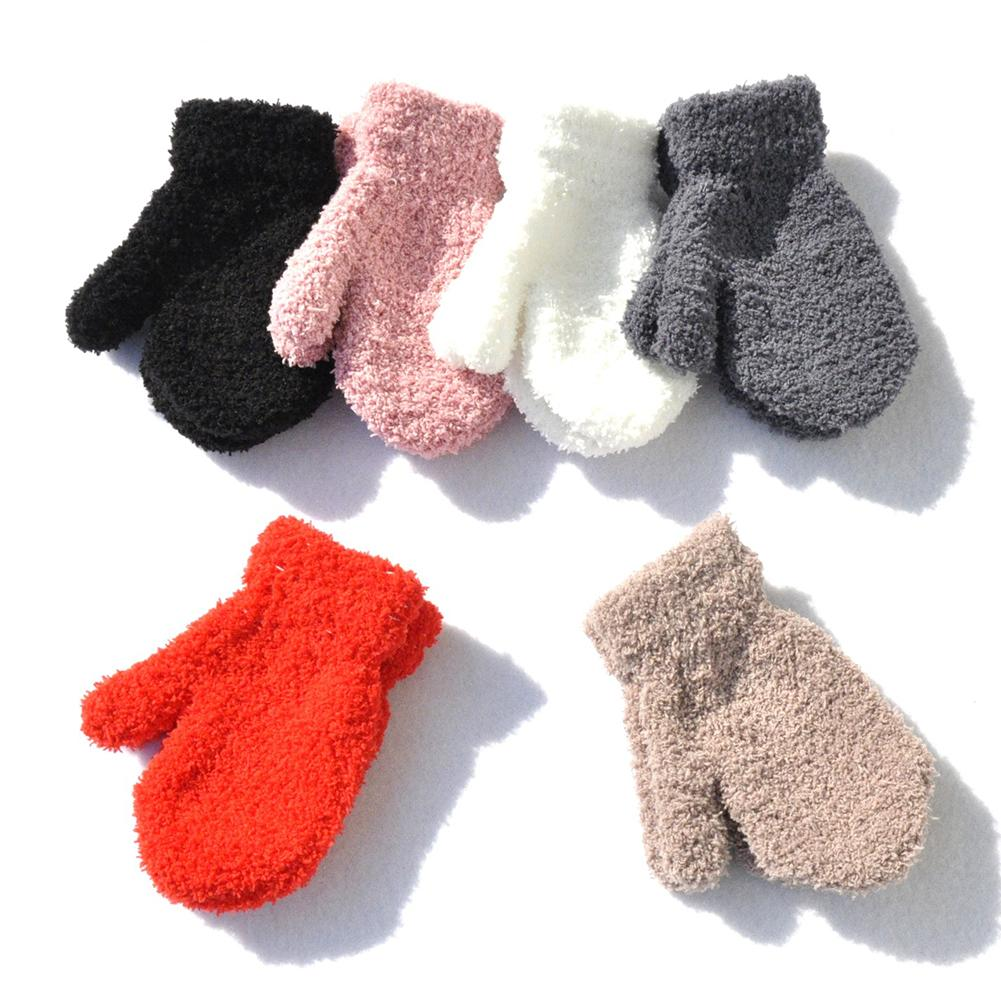 1 Pair Boys Girls Thick Plush Coral Winter Gloves Toddler Full Fingers Soft Warm Solid Color Knitted Mittens For Kids Cute Gift