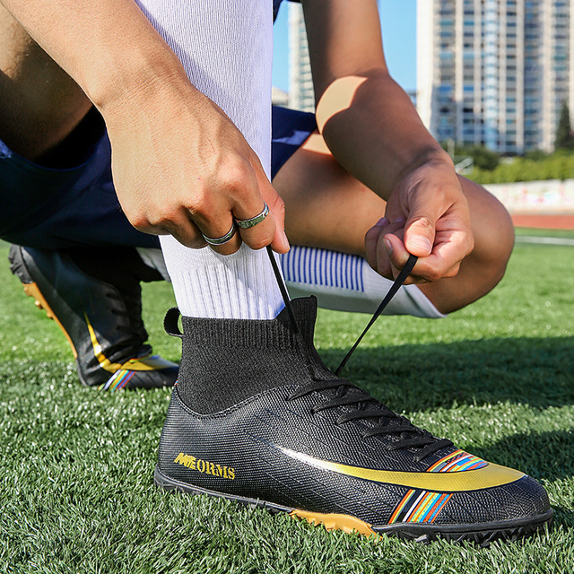 Men Football Boots Soccer Cleats Boots Long Spikes TF Spikes Ankle High Top Sneakers Soft Indoor Turf Futsal Child soccer Shoes 1