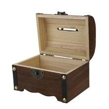 Caja de monedas hecha a mano de madera de alcancía Vintage caja de monedas de papel de gran capacidad caja de ahorro de dinero seguro organizador
