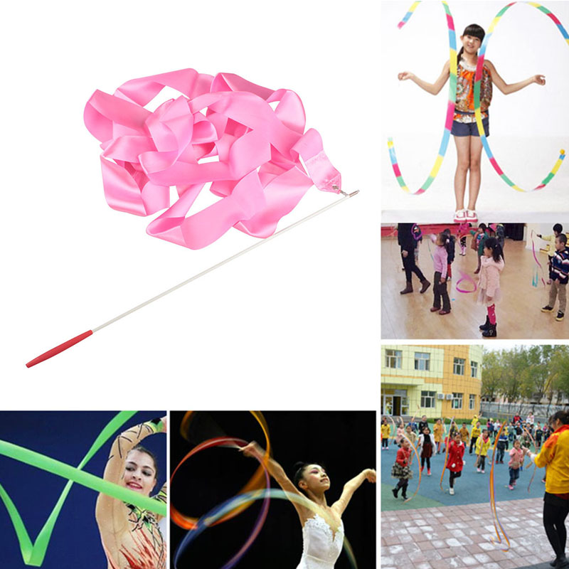 4 Meters Colorful Gym Ribbons Dance Ribbon Rhythmic Art Gymnastics Ballet Streamer Twirling Rod Rainbow Stick Training #SD