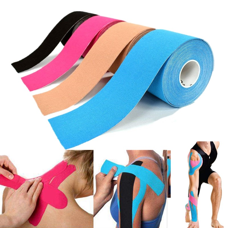 5M Breathable Cotton Kinesiology Tape Sports Elastic Roll Adhesive Muscle Bandage Knee Elbow Protector Injury Pain Care Tape|Elastoplast| |  -