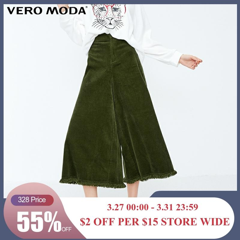 Vero Moda New Women's Leisure National Style Raw-edge Cuffs High Waist Wide Leg Casual   Capri     Pants   | 31846J514