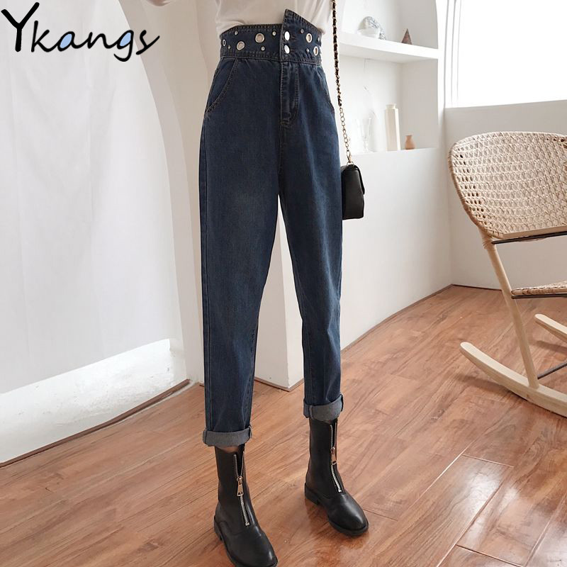 Women's Black High Waist Jeans Plus Size Loose Straight Trendy Casual Mom Jeans Harem Banana Denim Pants Female Jeans Clothes