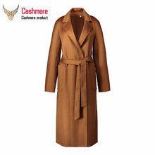 2019 Autumn Winter Water ripple cashmere coat jacket female plus long double-sided loose tie woolen