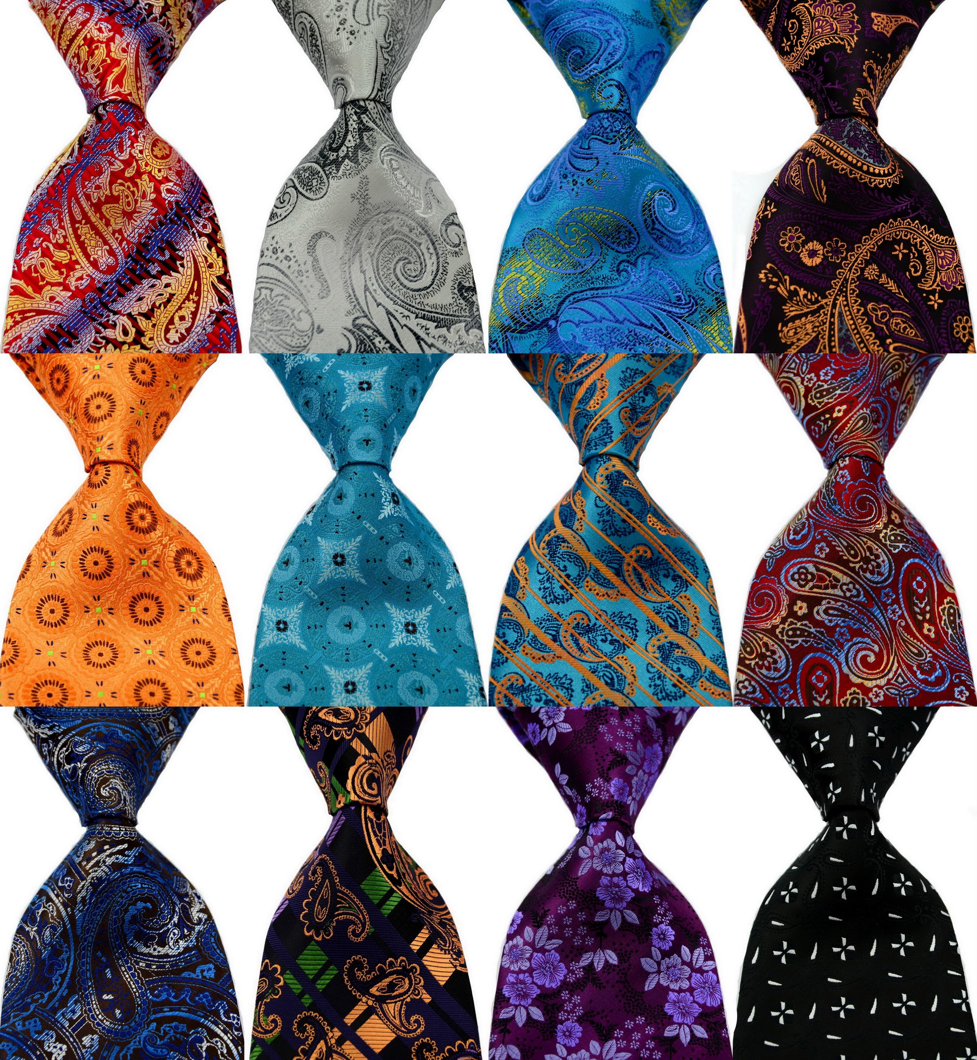 Men's Floral Tie 100% Silk Paisley Gray Purple Jacquard Party Wedding Woven Fashion Design Necktie