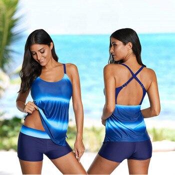 Plus Size Gradient Two Piece Tankini Bathing Suit Women Swimsuits Sexy Beachwear Bikini Set Swimsuit Suit Brazilian Monokini plus size backless tiered tankini set