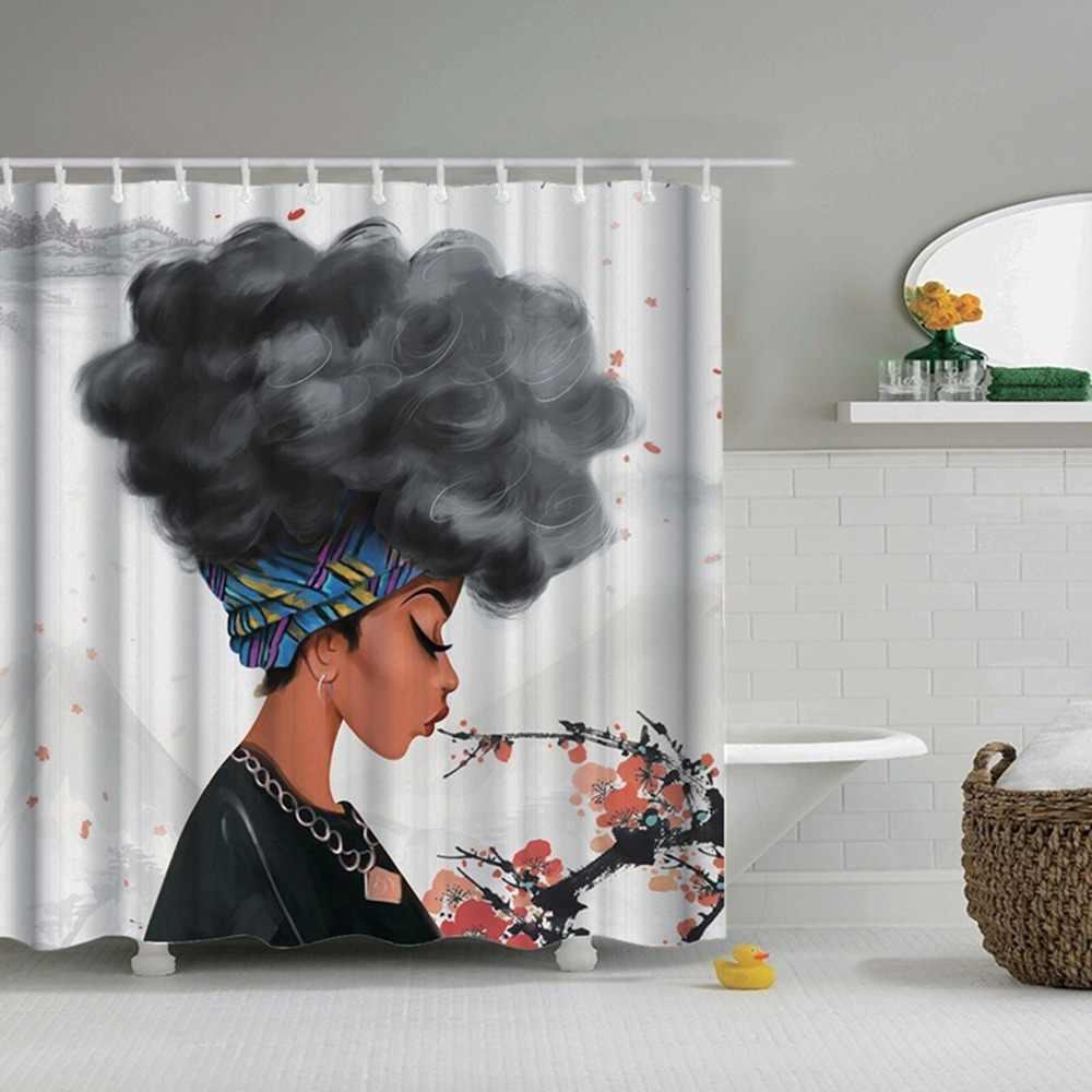 Dafield африканская Женская душевая занавеска в комплекте черная девушка с синими волосами полиэстер ткань Ванная комната афро Шторки для ванной занавес Африканский