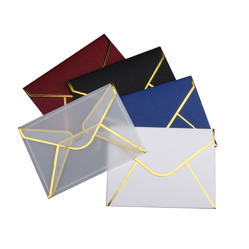 10pcs/set Transparent Paper Envelopes Hot Stamping Print Envelope For Card Storage DIY Scrapbooking Supplies