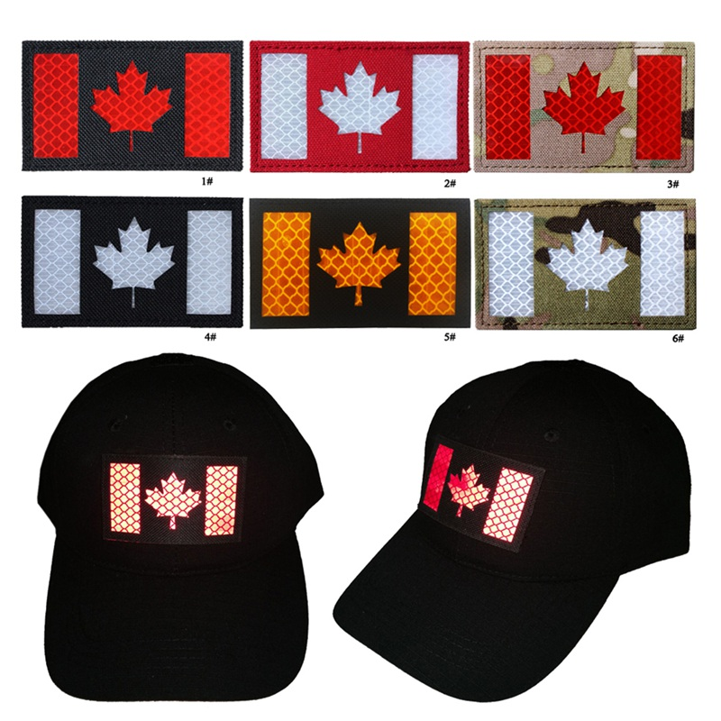 Hot Badge Canadian Flag Printed PVC DIY Apparel Armband Clothes Backpack Hat Patch