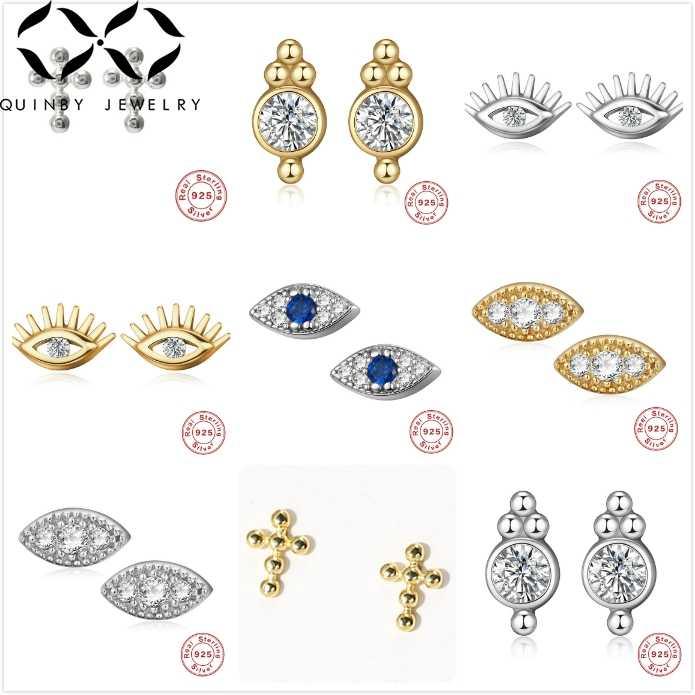 Pendientes de circonita pequeña Quinby para mujer pendientes de plata de ley 925 pendientes de Cruz de ojo malvado pendientes de diamantes de imitación de oreja de niña brincos Q5