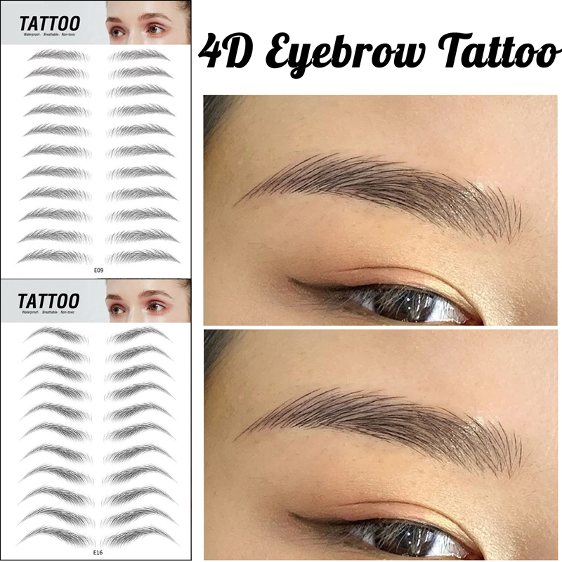 4D Eyebrow Tattoo Sticker Hair-Like False Eyebrows Waterproof Long Lasting Water Transfer Eye Brow Stickers Makeup Cosmetics