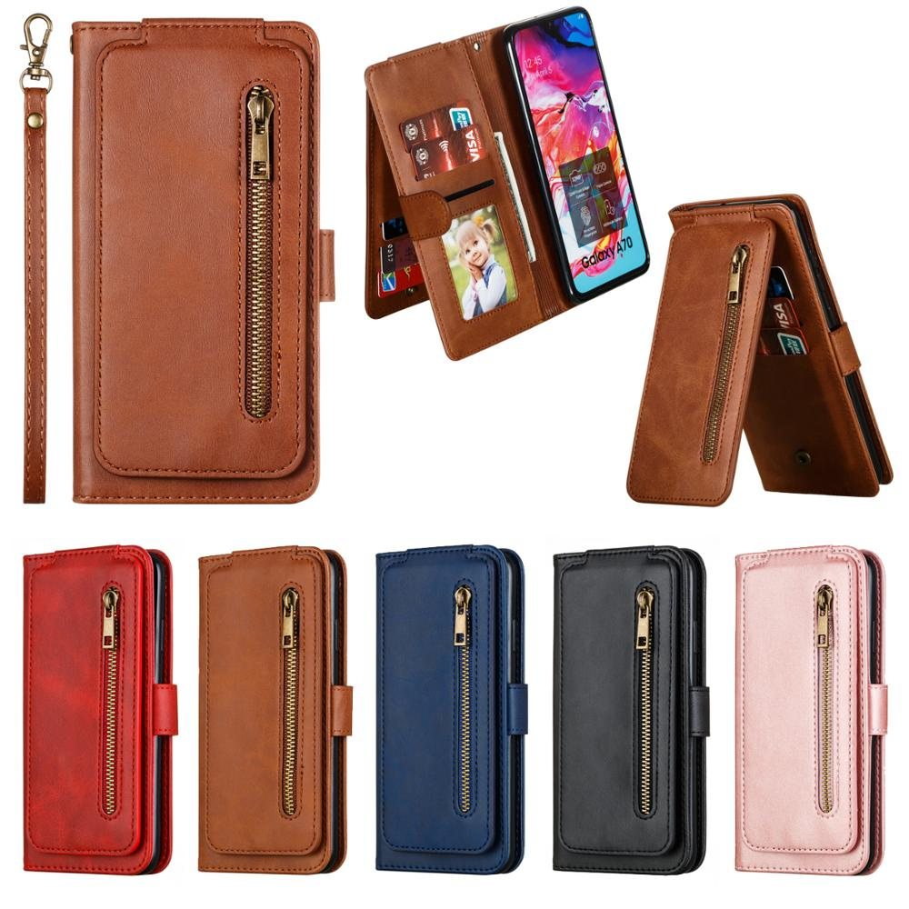 Flip Wallet For Samsung Galaxy A70 A50 A40 A30 A20 A10 A7 A8 A20S Zipper Leather Case Card Slot Stand Cover Mobile Phone Bag image
