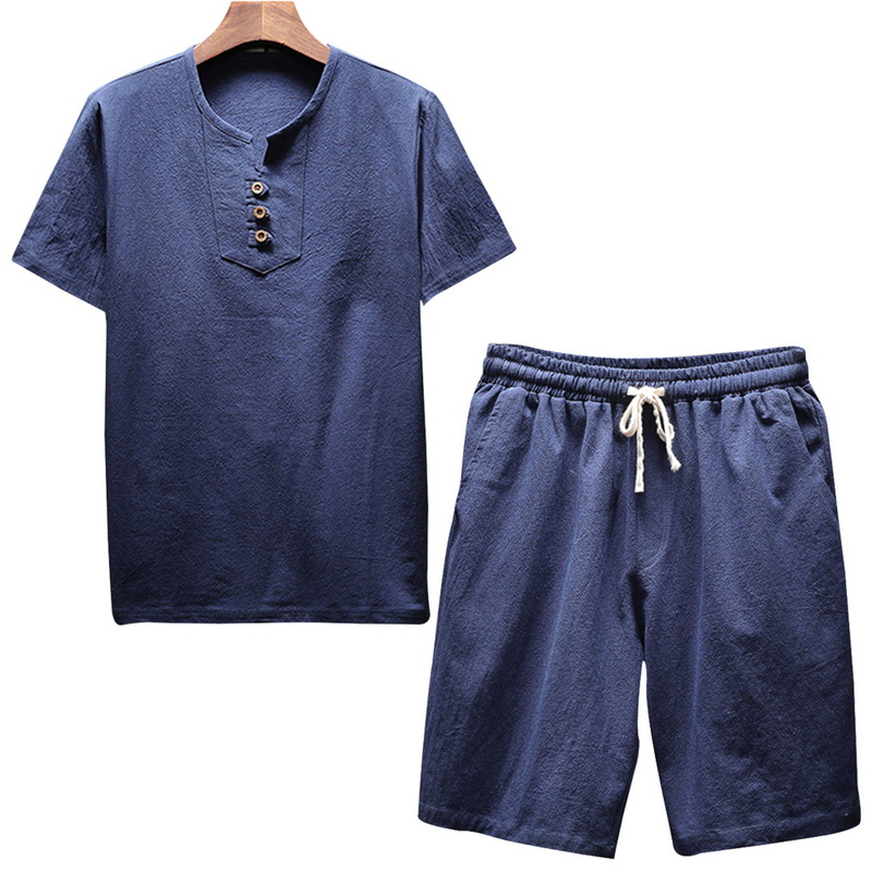Men's Linen Sets Brands O-Neck Solid Short Sleeve T Shirt Shorts Summer Fashion Male Casual Drawsting Suit M-5XL