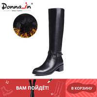 Botas de invierno Donna-in botas altas hasta la rodilla botas cálidas de piel nueva moda zapatos de mujer de cuero Real punta redonda talón negro señoras 2019