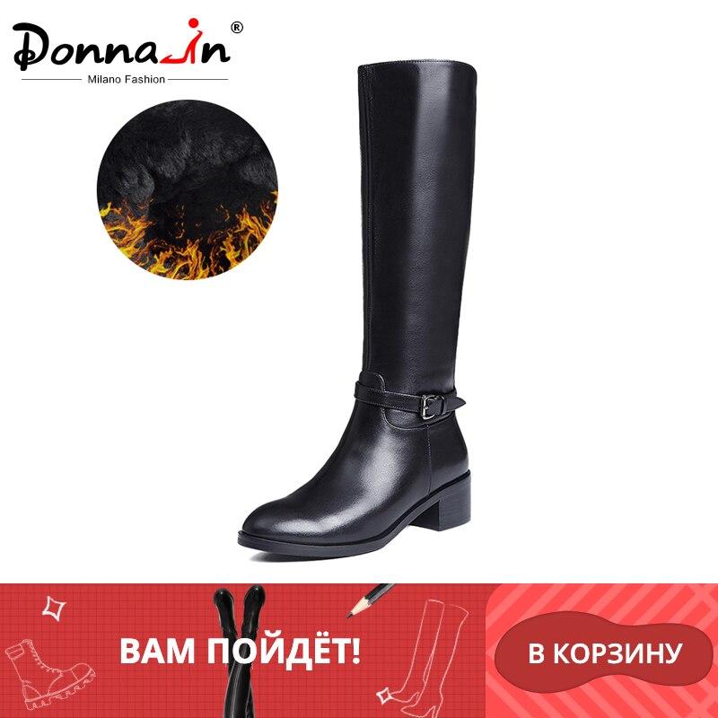 Donna-in bottes d'hiver femmes genou bottes fourrées bottes chaudes nouvelle mode en cuir véritable femmes chaussures bout rond talon noir dames 2019