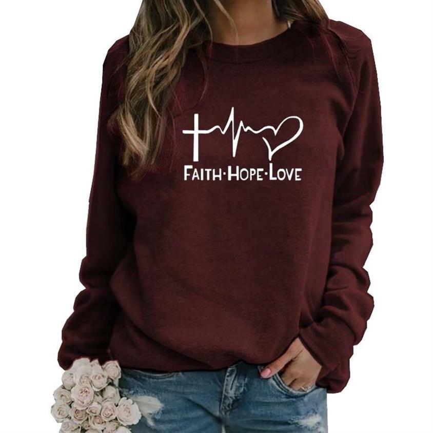 Hoodies For Women Faith Hope Love Letters Print Long Sleeve Round Neck Hoodies Women Kawaii Tops Pattern Loose Plus Size 5XL