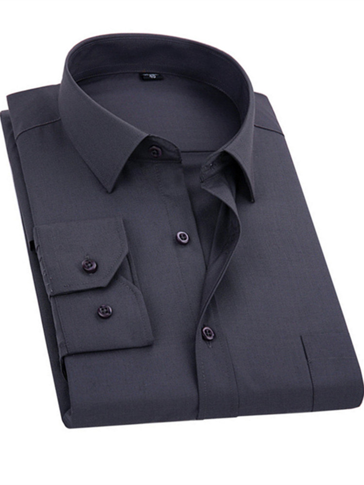Dress Shirt Long-Sleeved Business-Casual Blue Black White Men's Plus-Size 8XL Chemise