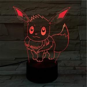Pokemon Evee аниме фигурка 3D светодиодный Ночник светильник Flareon Glaceon Sylveon Jolteon Espeon фигурка Umbreon Декор для спальни лампа подарки
