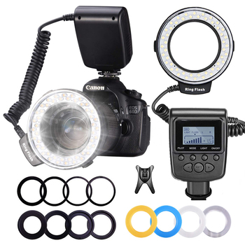 MAMEN Macro LED Ring Flashlight Speedlight Speedlite For Canon Nikon Fujifilm Olympus Pentax DSLR Camera Photo Ring Light Kit 1