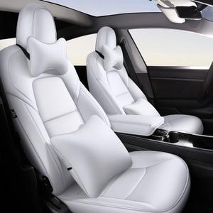 Image 2 - Mode Auto Speciale Lederen Bekleding Voor Tesla Model 3 2019 2020 Auto Decoratie Interieur Accessoires Protector Kussen 1 Set