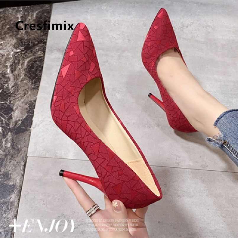 Cresfimix Women Classic Red Pattern High Heel Pumps Sexy Party Black Night Club Shoes for Female Ladies Office High Heels B5549